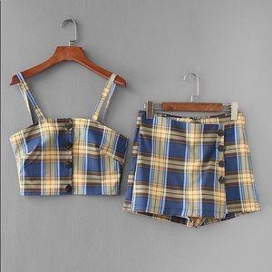 Trendy Tartan Plaid Crop Cami Top With Skort